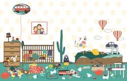 Ακατάστατο και ακατάστατο δωμάτιο παιδιών Διεσπαρμένοι παιδί παιχνίδια και ιματισμός Δωμάτιο όπου δύο μικρά παιδιά ζουν Βρωμίστε  διανυσματική απεικόνιση