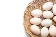 Ακατέργαστα βρώμικα αυγά παπιών στο καλάθι Στοκ εικόνες με δικαίωμα ελεύθερης χρήσης