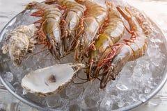 Ακατέργαστα γαρίδες και θαλασσινά κοχύλια Στοκ εικόνα με δικαίωμα ελεύθερης χρήσης