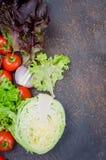 Ακατέργαστα λαχανικά για τη σαλάτα στο σκοτεινό υπόβαθρο Στοκ εικόνες με δικαίωμα ελεύθερης χρήσης