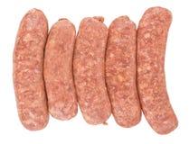 Ακατέργαστα λουκάνικα χοιρινού κρέατος Στοκ Φωτογραφία
