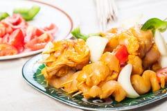 Κοτόπουλο kebab έτοιμο να είναι σχάρα Στοκ εικόνα με δικαίωμα ελεύθερης χρήσης