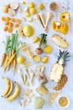 Ακατέργαστα προϊόντα τροφίμων: Κίτρινο χρώμα σχεδίου Στοκ φωτογραφία με δικαίωμα ελεύθερης χρήσης