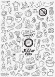 Ακατέργαστα τρόφιμα doodles Στοκ φωτογραφίες με δικαίωμα ελεύθερης χρήσης