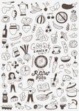 Ακατέργαστα τρόφιμα doodles Στοκ εικόνα με δικαίωμα ελεύθερης χρήσης