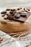 Ακατέργαστα φασόλια κακάου κακάου, μαύρη σοκολάτα στην καφετιά απόλυση, κορυφή β Στοκ φωτογραφία με δικαίωμα ελεύθερης χρήσης