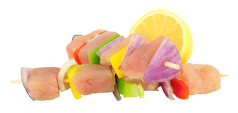 Ακατέργαστα φρέσκα ψάρια και γλυκό πιπέρι Kebabs Στοκ Φωτογραφίες