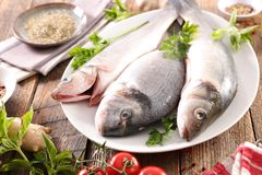 Ακατέργαστα ψάρια με το συστατικό στοκ εικόνες