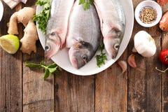 Ακατέργαστα ψάρια με το συστατικό στοκ φωτογραφία