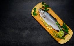 Ακατέργαστα ψάρια που προετοιμάζονται για το μαγείρεμα με το αντίγραφο της διαστημικής περιοχής Στοκ εικόνες με δικαίωμα ελεύθερης χρήσης