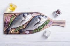 Ακατέργαστα ψάρια dorado και ingridient για το μαγείρεμα στοκ εικόνες