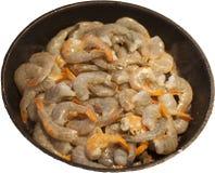 Ακατέργαστες γαρίδες που περιμένουν τηγανισμένος Στοκ Φωτογραφία