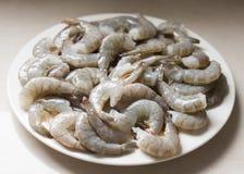 Ακατέργαστες γαρίδες σε ένα άσπρο πιάτο Στοκ Φωτογραφία