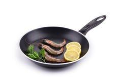 Ακατέργαστες γαρίδες στο τηγάνι Στοκ Εικόνες