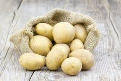 Ακατέργαστες πατάτες burlap στην τσάντα Στοκ φωτογραφίες με δικαίωμα ελεύθερης χρήσης