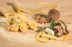 Ακατέργαστη ζύμη με το ιταλικό σπιτικό tortellini, που γεμίζουν με το τυρί ricotta, τα μανιτάρια, τα ξύλα καρυδιάς, τη φασκομηλιά Στοκ εικόνα με δικαίωμα ελεύθερης χρήσης