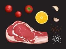 Ακατέργαστη λωρίδα κρέατος, μερίδα στο μάγειρα διανυσματική απεικόνιση