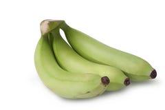 Ακατέργαστη μπανάνα στο άσπρο υπόβαθρο με το ψαλίδισμα της πορείας στοκ εικόνα με δικαίωμα ελεύθερης χρήσης