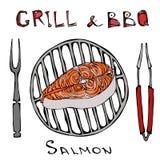 Ακατέργαστη μπριζόλα σολομών στη σχάρα σχαρών με το δίκρανο και τις λαβίδες Θερινό bbq Φέτα περικοπών ψαριών για το μαγείρεμα, γε διανυσματική απεικόνιση