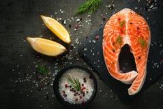 Ακατέργαστη μπριζόλα σολομών με τα συστατικά τροφίμων Στοκ Εικόνες