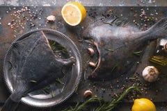 Ακατέργαστοι πλευρονήκτες με το διαφορετικό καρύκευμα στο υπόβαθρο πετρών Στοκ εικόνες με δικαίωμα ελεύθερης χρήσης
