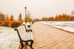 Ακατέργαστος των πάγκων και των φω'των στο πάρκο πόλεων Στοκ φωτογραφία με δικαίωμα ελεύθερης χρήσης