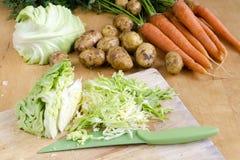 Ακατέργαστο λαχανικό του λάχανου, του καρότου και των πατατών στοκ φωτογραφία με δικαίωμα ελεύθερης χρήσης