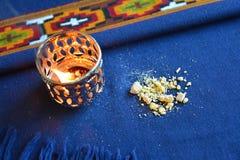 Ακατέργαστο και καίγοντας frankincense Στοκ Εικόνες