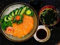 Ακατέργαστο και φρέσκο sashimi κρέας ψαριών - ιαπωνικό ύφος τροφίμων Στοκ Εικόνα