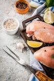 Ακατέργαστο κρέας, δίχτυ στηθών κοτόπουλου στοκ εικόνες