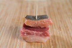 Ακατέργαστο μικρό κρέας sandwitch Στοκ εικόνες με δικαίωμα ελεύθερης χρήσης