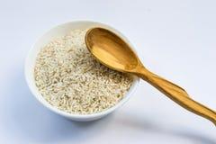 Ακατέργαστο ρύζι στο άσπρο πιάτο και το ξύλινο κουτάλι Στοκ φωτογραφίες με δικαίωμα ελεύθερης χρήσης