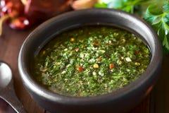 Ακατέργαστο σπιτικό πράσινο Chimichurri Salsa στοκ εικόνες