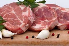 Ακατέργαστο φρέσκο κρέας εν πλω με τα καρυκεύματα Στοκ φωτογραφία με δικαίωμα ελεύθερης χρήσης