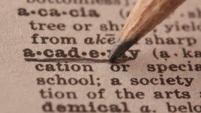 Ακαδημία - ο πλαστός καθορισμός λεξικών της λέξης με το μολύβι υπογραμμίζει απόθεμα βίντεο