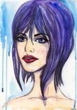 ακαδημαϊκό κορίτσι ι σχεδίων συντακτών τέχνης watercolor πορτρέτου στοκ φωτογραφία με δικαίωμα ελεύθερης χρήσης