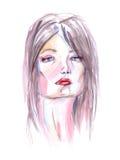 ακαδημαϊκό σχέδιο ι συντακτών τέχνης γυναίκα watercolor πορτρέτου Στοκ Φωτογραφίες