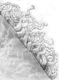Ακιδωτά plands σε μια κλίση λόφων - σκίτσο στοκ φωτογραφίες με δικαίωμα ελεύθερης χρήσης