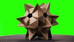 Ακιδωτό πρότυπο origami στην πράσινη οθόνη απόθεμα βίντεο