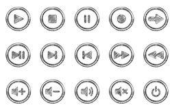 Ακουστικά εικονίδια κουμπιών doodle καθορισμένα Στοκ εικόνες με δικαίωμα ελεύθερης χρήσης