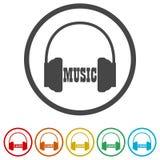 Ακουστικά και μουσική του Word, 6 χρώματα συμπεριλαμβανόμενα Στοκ εικόνες με δικαίωμα ελεύθερης χρήσης