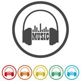 Ακουστικά και μουσική του Word, 6 χρώματα συμπεριλαμβανόμενα Στοκ Φωτογραφίες
