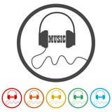 Ακουστικά και μουσική του Word, 6 χρώματα συμπεριλαμβανόμενα Στοκ Εικόνες
