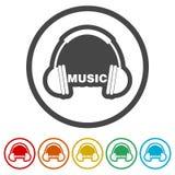 Ακουστικά και μουσική του Word, 6 χρώματα συμπεριλαμβανόμενα Στοκ εικόνα με δικαίωμα ελεύθερης χρήσης