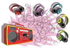 Ακουστικά και παιχνίδι λαβυρίνθου βραχίονας-κιβωτίων Στοκ εικόνες με δικαίωμα ελεύθερης χρήσης