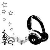 Ακουστικά και σημειώσεις Στοκ Φωτογραφίες