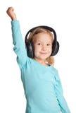 ακουστικά κοριτσιών λίγ&alp Στοκ Φωτογραφία