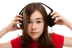 ακουστικά κοριτσιών στοκ φωτογραφίες με δικαίωμα ελεύθερης χρήσης
