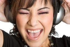 ακουστικά κοριτσιών Στοκ εικόνες με δικαίωμα ελεύθερης χρήσης