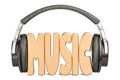 Ακουστικά με τη λέξη μουσικής, μουσική έννοια τρισδιάστατη απόδοση ελεύθερη απεικόνιση δικαιώματος